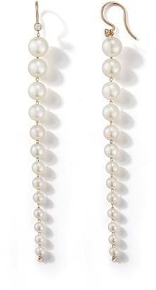 Mizuki White Akoya Pearl and Diamond Yellow Gold Drop Earrings
