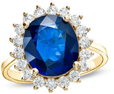 Zales Precious BrideTM Oval Blue Sapphire and 5/8 CT. T.W. Diamond Frame Engagement Ring in 14K Gold