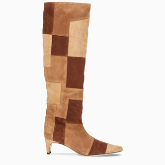 STAUD Tan patchwork Wally boots