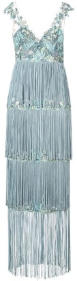 Marchesa Notte Embroidered Fringe Dress