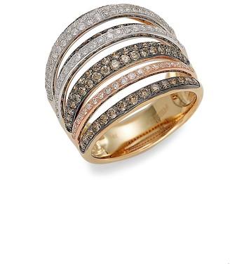 Effy 14K Tri-Tone Gold, Black Rhodium-Plated, White Brown Diamond Ring