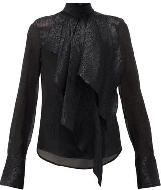 Petar Petrov Cynthia Draped Silk-blend Lame Blouse - Womens - Black