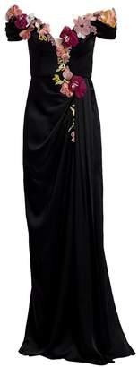 Marchesa Off-The-Shoulder Floral Applique Duchess Satin Gown