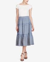 Lauren Ralph Lauren Seersucker Midi Skirt