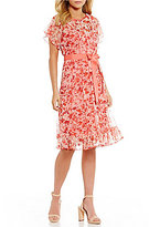Jessica Howard Floral-Print Pintuck Belted Dress
