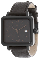 Ike Behar The Square Textured Leather Watch, 37mm