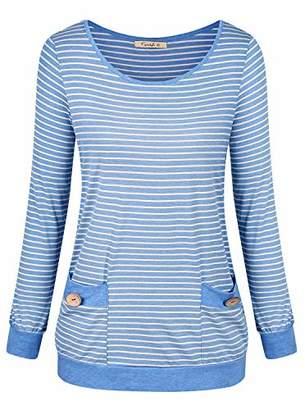Cyanstyle Women's Long Sleeve Striped Hoodies Tunic Pullover Sweatshirts Top M