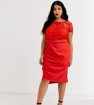 Paper Dolls Plus belted lace midi dress in red