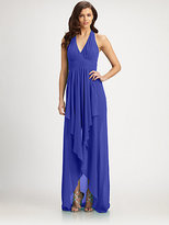 Nicole Miller Chiffon Halter Gown