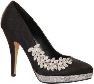 Paper Dolls Footwear Black & Silver Embellished Leaf Detail Court Heel