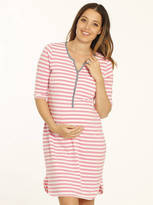 Angel Maternity Pink And White Maternity And Nursing Nightie