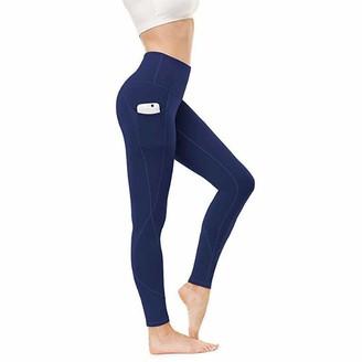 VANVENE Women's Yoga Pants with Pockets - High Waist Tummy Control Workout Running Leggings Athletic Pants Blue