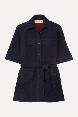 Victoria Victoria Beckham Victoria, Victoria Beckham - Belted Denim Jacket - Navy