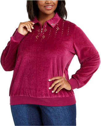 Alfred Dunner Plus Size Bright Idea Velour 1/4-Zip Top