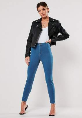 Missguided Petite Blue Outlaw High Waisted Jeggings