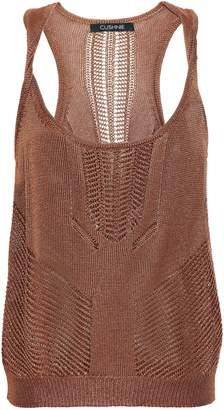 Cushnie Huda Twisted Pointelle-knit Tank
