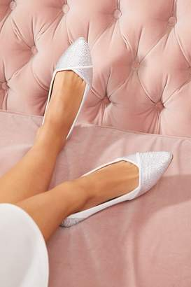 Quiz Bridal Ivory Satin Diamante Point Toe Pumps