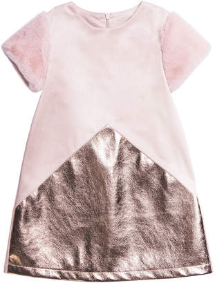 Imoga Stretchy Faux Suede Metallic-Trim Dress, Size 4-6