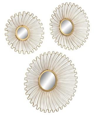 Decmode Modern Tin And Glass Round Gold Sunburst Wall Mirrors, Gold - Set of 3