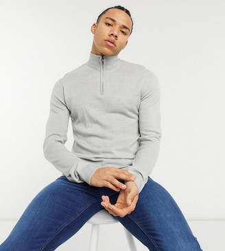 French Connection Tall soft touch half zip knit sweater in heather gray