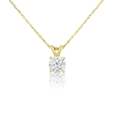 Ice 1/2 CT TW Diamond 14K Gold Solitaire Pendant Necklace with 18-inch Rope Chain