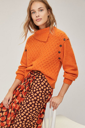 Anthropologie Nadia Buttoned Sweater By in Orange Size XS
