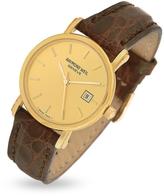 Raymond Weil Brown Croco-Stamped Leather Strap 18K Gold Date Dress Watch