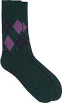 Barneys New York Men's Argyle Fine-Gauge Knit Mid-Calf Socks-GREEN