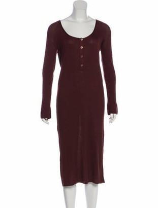 Hermes Silk-Blend Knit Dress Brown