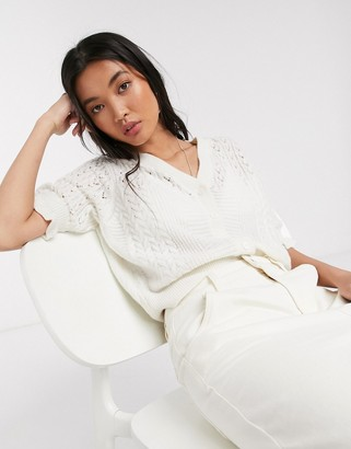 And other stories & frill short sleeve cardigan in white