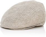 Barneys New York MEN'S HERRINGBONE NEWSBOY CAP-NUDE SIZE S