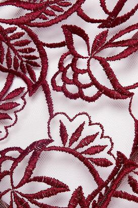 Coco de Mer Aurora Georgette-trimmed Cutout Embroidered Tulle Halterneck Bodysuit - Burgundy