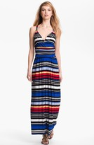 Vince Camuto Bright Stripe Halter Maxi Dress
