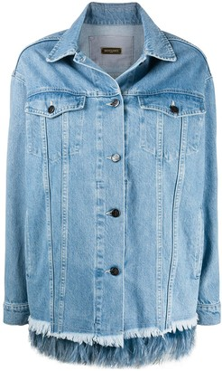 Simonetta Ravizza Feather Trimmed Denim Jacket