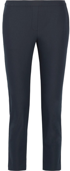 Theory Thaniel Approach Cropped Stretch Cotton-blend Twill Slim-leg Pants - Navy