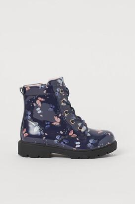 H&M Patent Boots - Blue