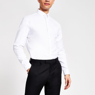 River Island White textured slim fit pin collar shirt