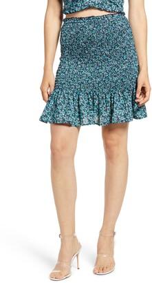 Rowa Smocked Ruffle Hem Miniskirt