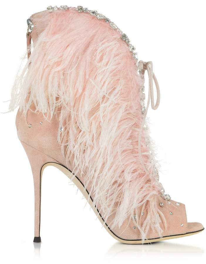 Giuseppe Zanotti Charleston Pink Suede and Feathers High Heel Sandals