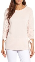 Women's Caslon Tie Ruched Sleeve Sweatshirt