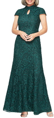 Alex Evenings Mock Neck Beaded Lace Trumpet Gown