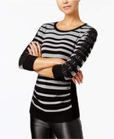 BCX Juniors' Striped Lace-Trim Sweater