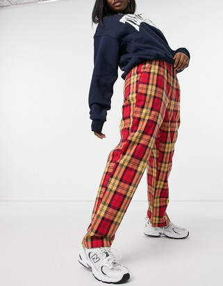 Dickies New Iberia check pant in red/yellow