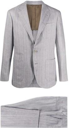 Brunello Cucinelli Striped Print Single Breasted Suit