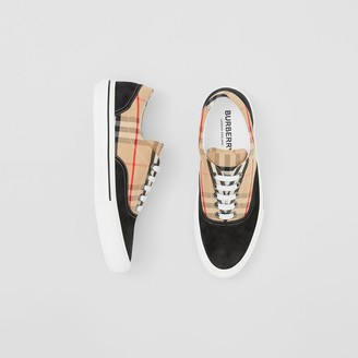 Burberry Vintage Check Cotton and Suede Sneakers