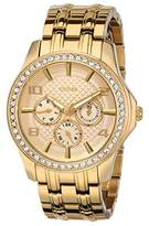"GUESS Women's U0147L2 ""Polished Glamour"" Gold-Tone Watch with Crystal Bezel"