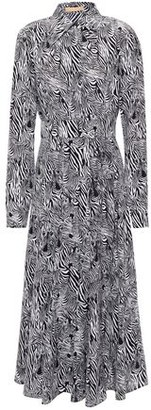 Michael Kors Zebra-print Silk Crepe De Chine Midi Shirt Dress