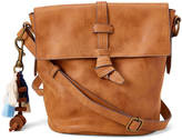 Cognac Tassel Fold-Over Crossbody Bag