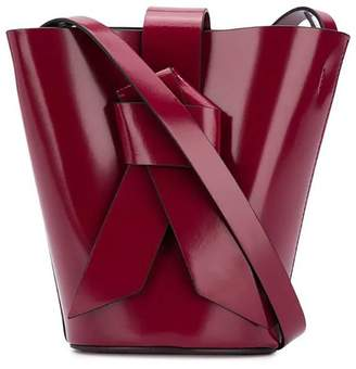 Acne Studios musubi knotted front bucket bag burgundy