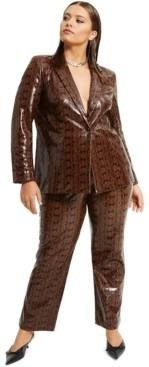 Danielle Bernstein Plus Size Faux-Snakeskin Blazer, Created for Macy's